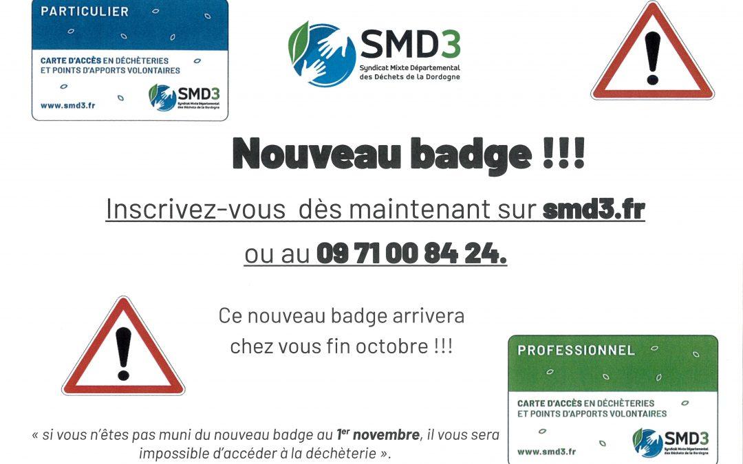 SMD3 – Nouveau badge
